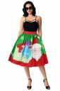 Womens Santa And Christmas Gift Printed Pleated Skirt Green