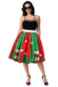 Womens Santa And Christmas Tree Printed Pleated Skirt Green