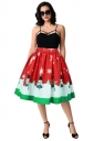 Womens Cute Christmas Snowman And Snowflake Printed Pleated Skirt