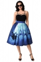 Womens Christmas Sleigh And Reindeer Printed Pleated Skirt Navy Blue