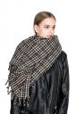 Womens Warm Fringe Tartan Pattern Plaid Scarf Gray