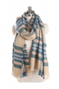 Womens Warm Tassel Colorful Plaid Printed Scarf Blue