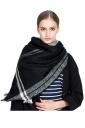 Womens Warm Tassel Colorful Plaid Printed Scarf Black