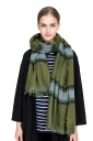 Womens Warm Tassel Colorful Plaid Printed Scarf Green