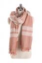 Womens Warm Tassel Colorful Plaid Printed Scarf Pink