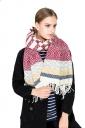 Womens Trendy Tassel Wave Printed Shawl Scarf Ruby
