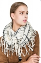Womens Stylish Fringe Shawl Plaid Scarf Beige