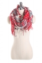 Womens Stylish Fringe Shawl Plaid Scarf Red