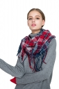 Womens Stylish Fringe Shawl Plaid Scarf Ruby