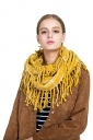 Womens Stylish Fringe Shawl Plaid Scarf Yellow
