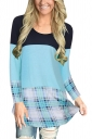 Womens Plaid Contrast Color Lace Asymmetrical Hem T-Shirt Light Blue