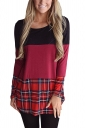 Womens Plaid Contrast Color Back Lace Asymmetrical Hem T-Shirt Ruby