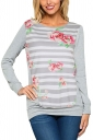 Womens Crew Neck Long Sleeve Stripe Floral Printed T-Shirt Gray
