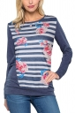Womens Crew Neck Long Sleeve Stripe Floral Printed T-Shirt Navy Blue