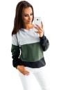 Womens Crew Neck Long Sleeve Contrast Color Oversized T-Shirt Green