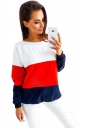 Womens Crew Neck Long Sleeve Contrast Color Oversized T-Shirt Red