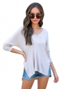 Womens V-Neck Lace Up 3/4 Length Sleeve High Low Hooded T-Shirt White