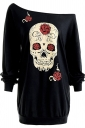 Womens One Shoulder Halloween Skull Printed Long Sleeve T-Shirt Black