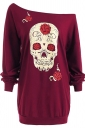 Womens Sexy Off Shoulder Skull Printed Halloween T-Shirt Ruby