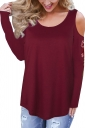 Womens Crew Neck Cold Shoulder Embroidered Long Sleeve Blouse Blue