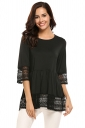 Womens Ruffle Lace Crew Neck Half Sleeve Plain Blouse Black