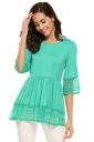 Womens Ruffle Lace Crew Neck Half Sleeve Plain Blouse Turquoise