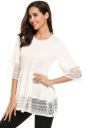 Womens Ruffle Lace Crew Neck Half Sleeve Plain Blouse White
