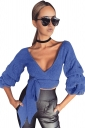 Womens Sexy Deep V-Neck Latern Sleeve Bandage Crop Top Blue