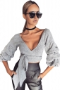 Womens Sexy Deep V-Neck Latern Sleeve Bandage Crop Top Gray