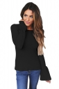 Womens Crew Neck Bell Sleeve Knit Pullover Plain T-Shirt Black