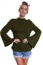 Womens Crew Neck Bell Sleeve Close-Fitting Plain T-Shirt Gray