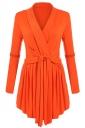Womens Ruffle Bandage V-Neck Asymmetrical Hem Trench Coat Orange