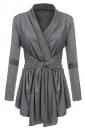 Womens Ruffle Bandage V-Neck Asymmetrical Hem Trench Coat Dark Gray
