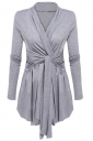 Womens Ruffle Bandage V-Neck Asymmetrical Hem Trench Coat Light Gray