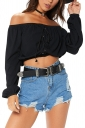 Womens Sexy Off Shoulder Lace Up Long Sleeve Ruffle Crop Top Black