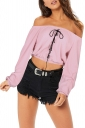 Womens Sexy Off Shoulder Lace Up Long Sleeve Crop Top Light Purple