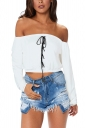 Womens Sexy Off Shoulder Lace Up Long Sleeve Ruffle Crop Top White