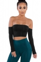 Womens Sexy Off Shoulder Long Sleeve Lace Up Plain Crop Top Black