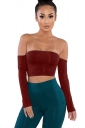Womens Sexy Off Shoulder Long Sleeve Lace Up Plain Crop Top Ruby