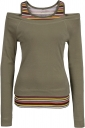 Womens Long Sleeve Cold Shoulder Stripes Printed T-Shirt Army Green