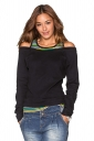 Womens Fashion Long Sleeve Cold Shoulder Stripes Printed T-Shirt Black