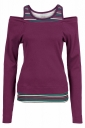 Women Fashion Long Sleeve Cold Shoulder Stripes Printed T-Shirt Purple