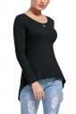 Womens Lace Up Asymmetrical Hem Long Sleeve Plain Blouse Black
