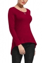 Womens Lace Up Asymmetrical Hem Long Sleeve Plain Blouse Ruby