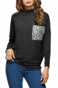 Womens Casual Cowl Neck Long Sleeve Pocket Plain T-Shirt Black