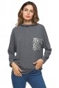 Womens Casual Cowl Neck Long Sleeve Pocket Plain T-Shirt Gray