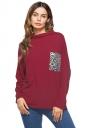 Womens Casual Cowl Neck Long Sleeve Pocket Plain T-Shirt Ruby