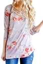 Womens Lace Up 3/4 Length Sleeve Flower Printed Blouse Light Purple