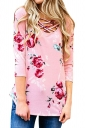 Womens Sexy Lace Up 3/4 Length Sleeve Flower Printed Blouse Pink