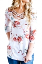 Womens Sexy Lace Up 3/4 Length Sleeve Flower Printed Blouse White